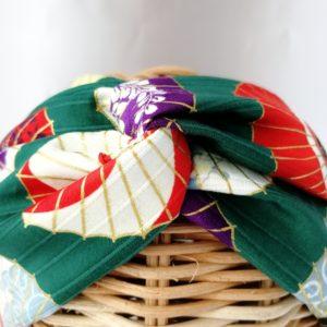 turbante estampado sombrillas japonesas en tono verde