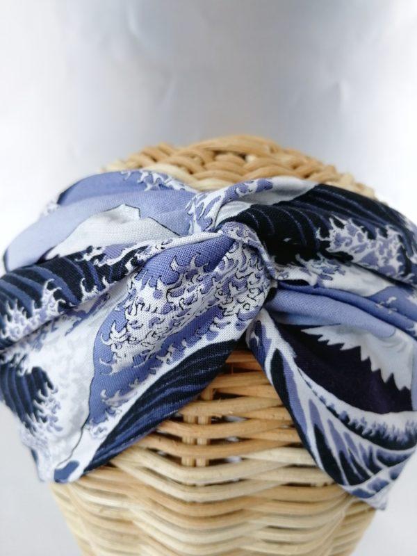 turbante estampado pintura ola kanagawa